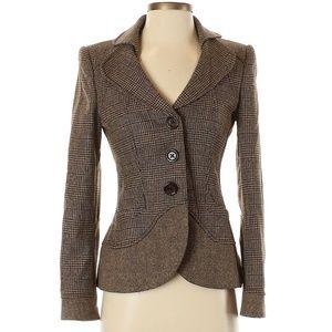 RENA LANGE Brown Plaid Wool Blazer